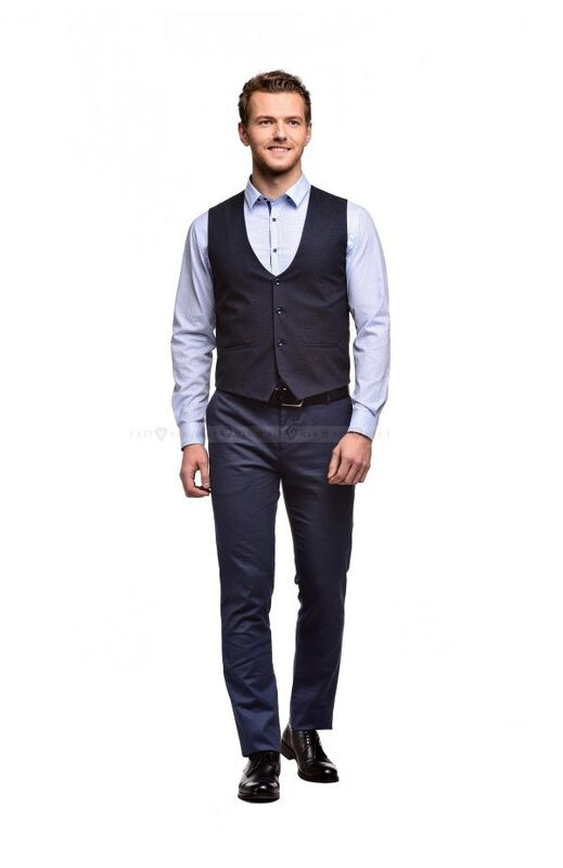 Пиджак, жакет, жилетка мужские Keyman Жилет мужской сине-серый имитация шерсти - фото 2