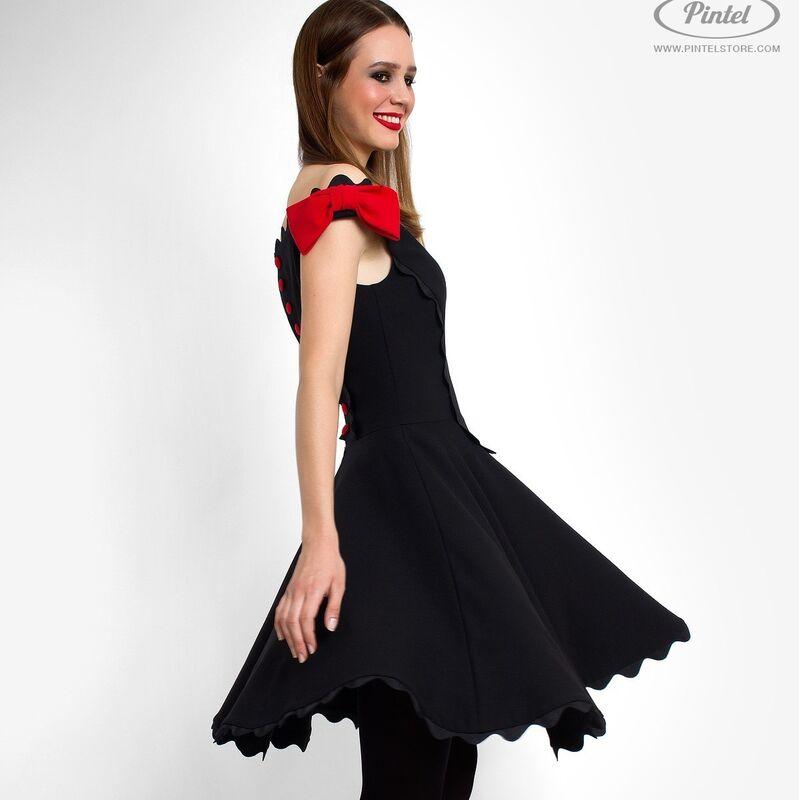 Платье женское Pintel™ Чёрное приталенное мини-платье без рукавов Astrid - фото 1