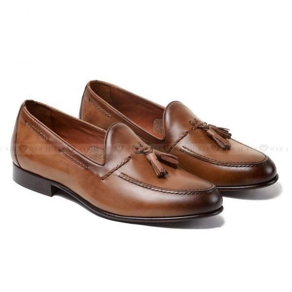 Обувь мужская Keyman Туфли мужские лоферы светло-рыжие на кожаной подошве - фото 1