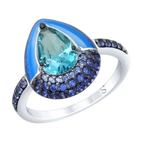 Ювелирный салон Sokolov Кольцо из серебра с эмалью и синим ситаллом и фианитами 92011670 - фото 1