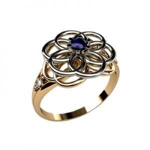 Ювелирный салон jstudio Золотое кольцо c цветными фианитами  10228 - фото 1