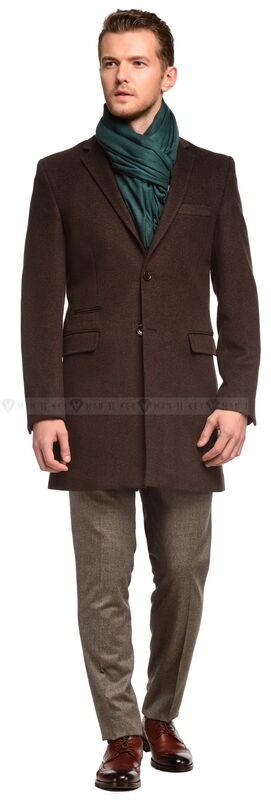 Верхняя одежда мужская Keyman Пальто мужское коричневое приталенное демисезонное - фото 1