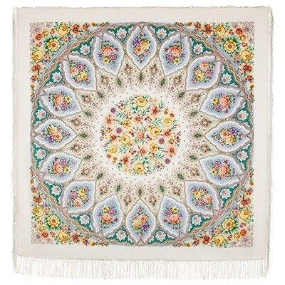 Шарф и платок Павловопосадская мануфактура Платок шерстяной «Снежинки и цветы» - фото 1