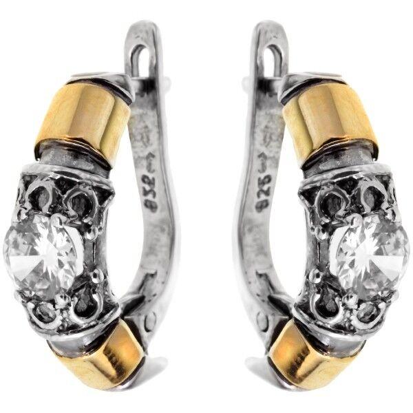Ювелирный салон Yaffo Серьги серебро + золото SAE007 - фото 1
