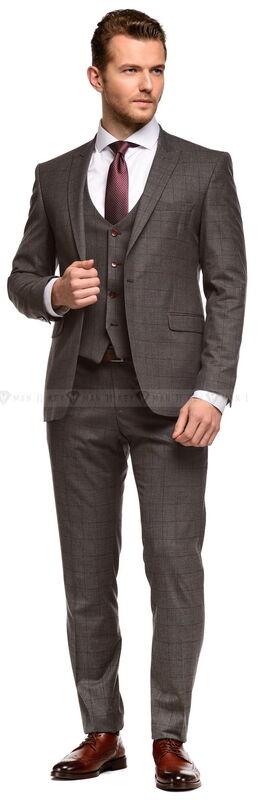 Костюм мужской Keyman Костюм мужской серый в клетку марсала, тройка - фото 2