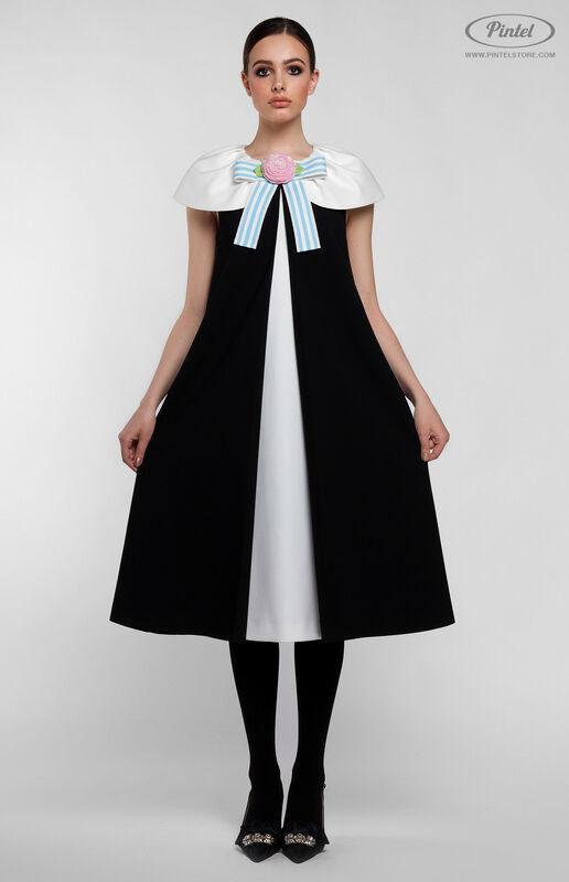 Платье женское Pintel™ Элегантное чёрное миди-платье А-силуэта Paloma - фото 2