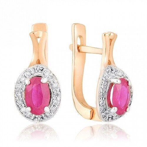 Ювелирный салон Jeweller Karat Серьги золотые с бриллиантами и рубином арт. 1222299 - фото 1