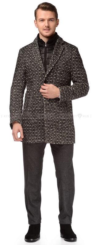 Верхняя одежда мужская Keyman Пальто мужское черно-белое с ветровой планкой - фото 2