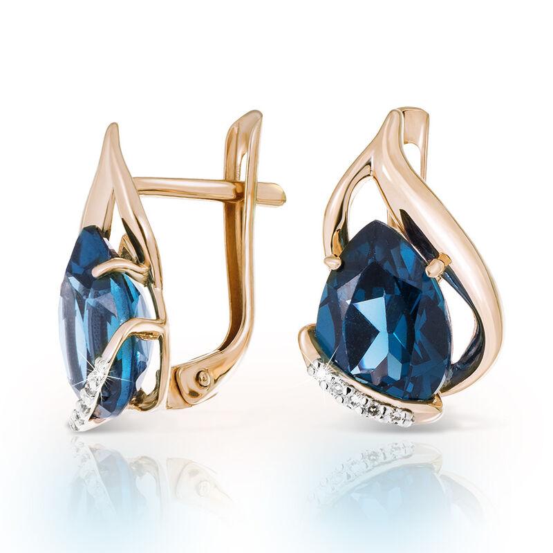 Ювелирный салон Jeweller Karat Серьги золотые с бриллиантами и топазами London арт. 1225332 - фото 1