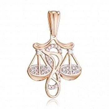 Ювелирный салон Jeweller Karat Подвеска золотая с цирконом арт. 1134487 Весы - фото 1