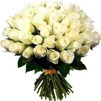 Магазин цветов Ветка сакуры Букет из 51 белой розы - фото 1