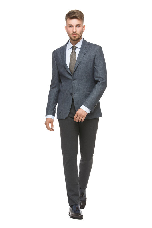 Пиджак, жакет, жилетка мужские HISTORIA Пиджак серый с накладными карманами - фото 1