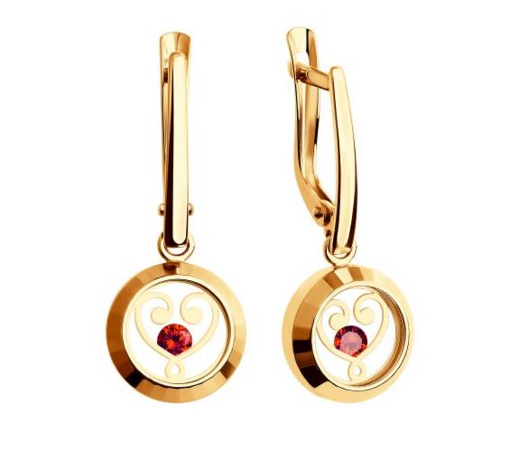 Ювелирный салон Sokolov Золотые серьги с минеральным стеклом 027570 - фото 1