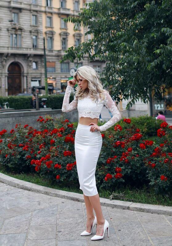Вечернее платье Shkafpodrugi Кружевной белый костюм из юбки миди и топа - фото 2