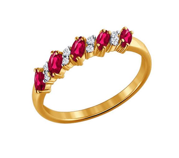 Ювелирный салон Sokolov Кольцо из золота с бриллиантами и рубинами 4010027 - фото 1