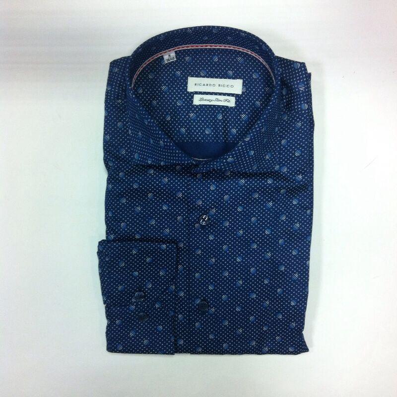 Кофта, рубашка, футболка мужская Ricardo Ricco Рубашка мужская, цвет: принт (Slim Fit) R24 - фото 1