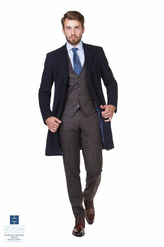 Верхняя одежда мужская HISTORIA Пальто утепленное темно-синее - фото 1