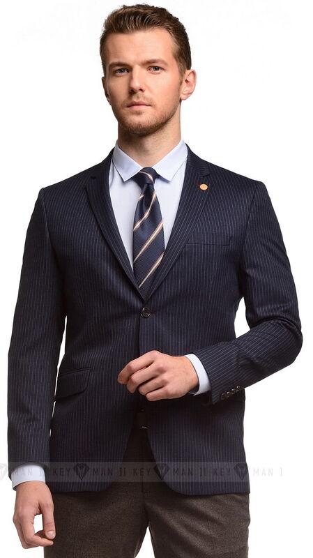 Пиджак, жакет, жилетка мужские Keyman Пиджак мужской чернильный в полоску - фото 1