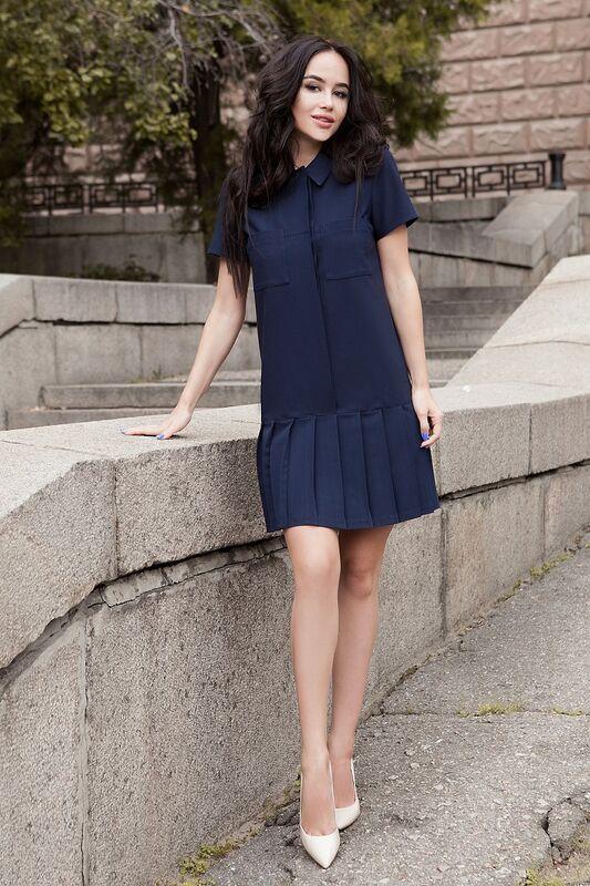 Платье женское SL.IRA Синее платье с заниженной талией - фото 1