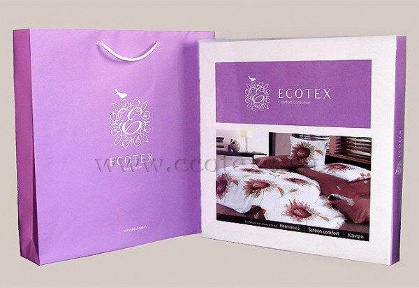 """Подарок Ecotex Сатиновое постельное белье 1,5 сп.  """"Гармоника"""" - """"Квилл"""" - фото 2"""