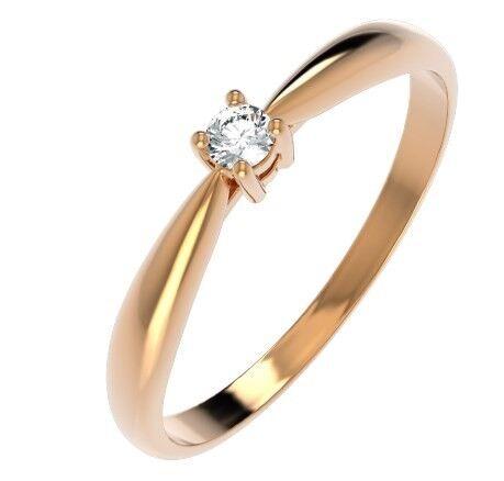 Ювелирный салон ZORKA Кольцо помолвочное из розового золота с бриллиантом 2D0080.14K.R - фото 1