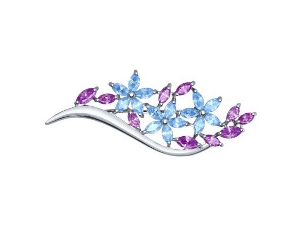 Ювелирный салон Sokolov Брошь из серебра с голубыми и сиреневыми фианитами 94040117 - фото 1