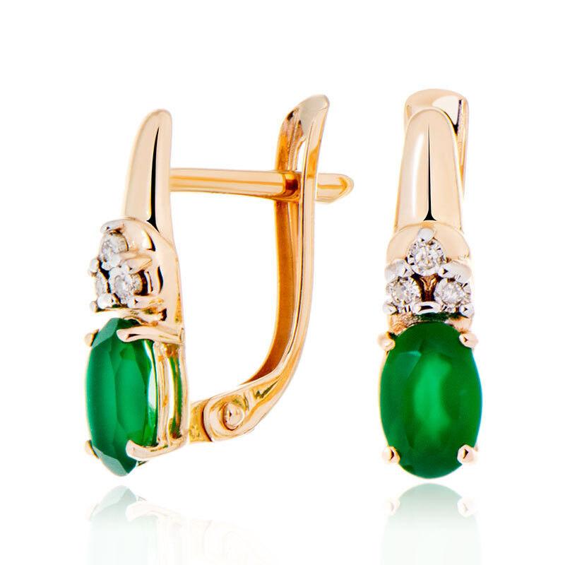 Ювелирный салон Jeweller Karat Серьги золотые с бриллиантами и хризопразом арт. 3226127/9 - фото 1