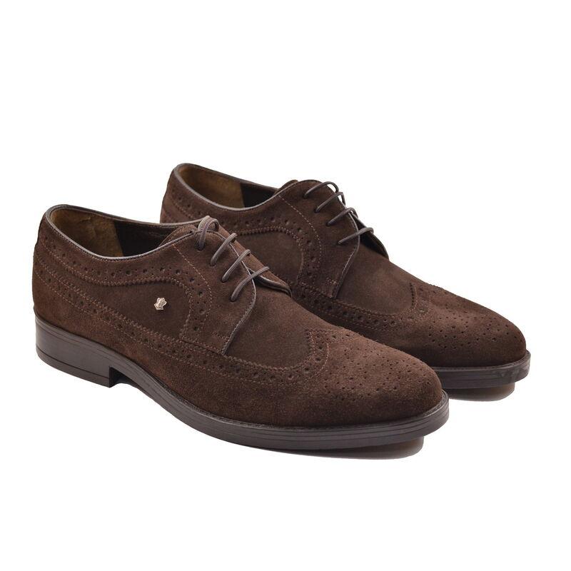 Обувь мужская HISTORIA Туфли дерби броги темно-коричневые замшевые Sh.Br.71798 - фото 1