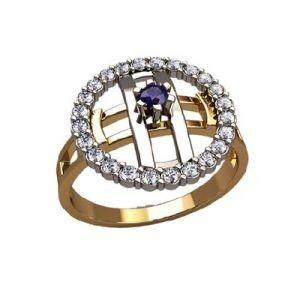 Ювелирный салон jstudio Золотое кольцо с различными фианитами 10336 - фото 1