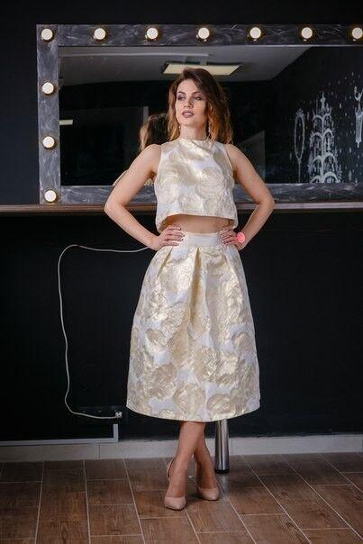 Вечернее платье Chi Chi Золотой матовый комплект - фото 1