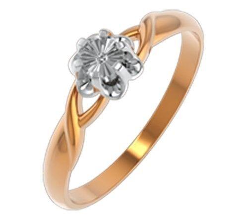 Ювелирный салон ZORKA Кольцо из комбинированного золота с бриллиантом 2D00119.14K.B - фото 1