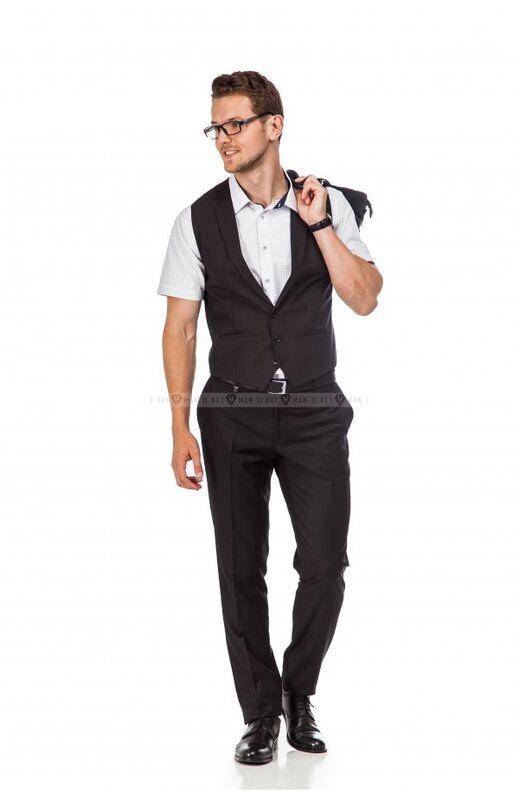 Пиджак, жакет, жилетка мужские Keyman Жилет мужской черный фактурный с лацканами - фото 2