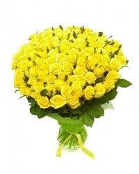 Магазин цветов Ветка сакуры Букет из 101 желтой розы - фото 1