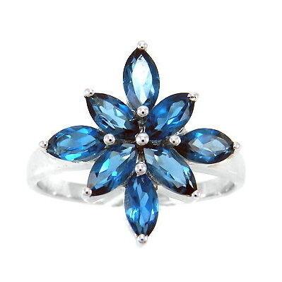 Ювелирный салон Evora Кольцо из серебра 925 пробы с синими топазами Лондон блю 2080 - фото 1