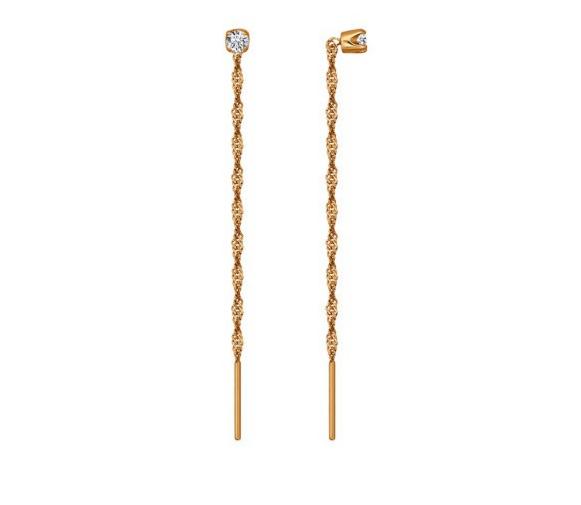 Ювелирный салон Sokolov Серьги-цепочки из золота с фианитами 020610 - фото 1
