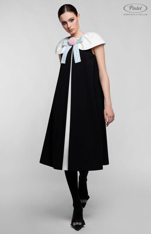 Платье женское Pintel™ Элегантное чёрное миди-платье А-силуэта Paloma - фото 3