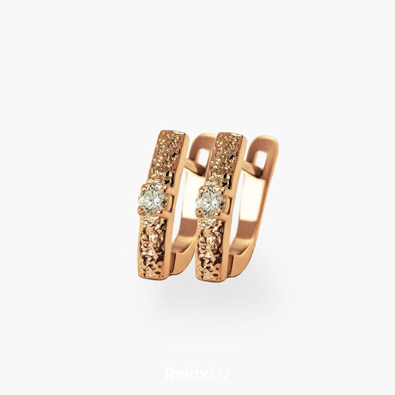 Ювелирный салон Белорусские Бриллианты Серьги из золота со вставкой бриллиант синт. 31010033 - фото 1