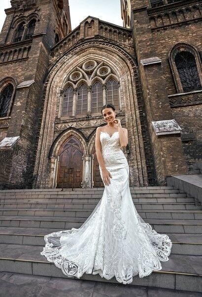 Свадебное платье напрокат Shkafpodrugi Свадебное платье-рыбка с открытой спинкой из итальянского кружева 0022-16 - фото 1
