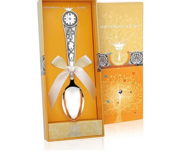 Ювелирный салон Аргента Серебряная детская ложка «Часы» 246ЛЖ05001 - фото 1