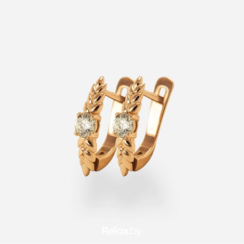 Ювелирный салон Белорусские Бриллианты Серьги из золота со вставкой бриллиант синт. 31010048 - фото 1