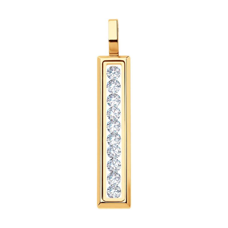 Ювелирный салон Sokolov Подвеска из золота со Swarovski Zirconia и минеральным стеклом 035356 - фото 1