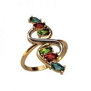 Ювелирный салон jstudio Золотое кольцо с различными фианитами 10341 - фото 1