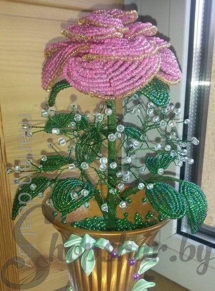 Подарок Весёлый праздник Роза из бисера - фото 1