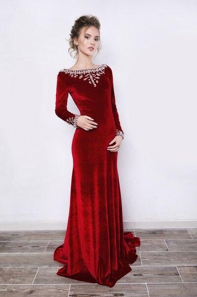 Вечернее платье Mary Bride Бархатное красное платье - фото 1