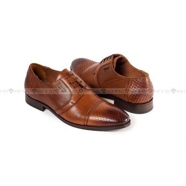Обувь мужская Keyman Туфли мужские дерби рыжие с плетеной выделкой - фото 1