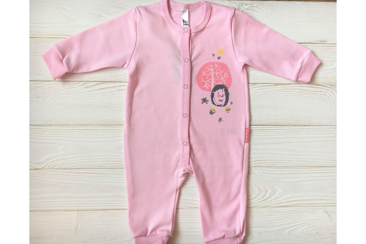 Комбинезон детский Bossa Nova Комбинезон розовый без лапок «Ежик» - фото 1