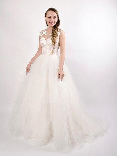 Свадебное платье напрокат Shkafpodrugi Пышное свадебное платье с кружевным корсетом - фото 1