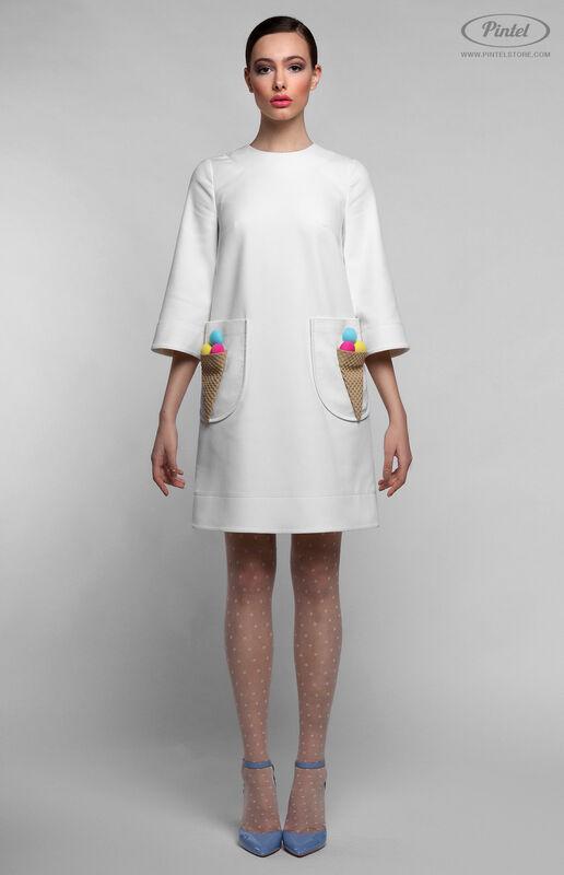 Платье женское Pintel™ Белое мини-платье А-силуэта NETTA - фото 2