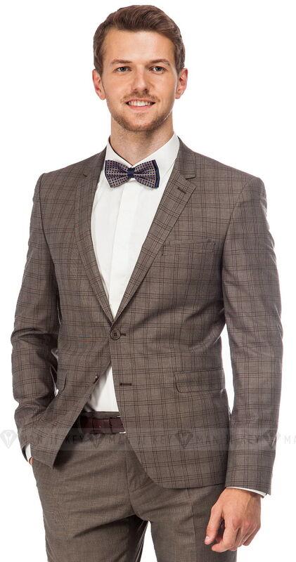 Костюм мужской Keyman Костюм мужской бежево-коричневый (пиджак в клетку) - фото 1