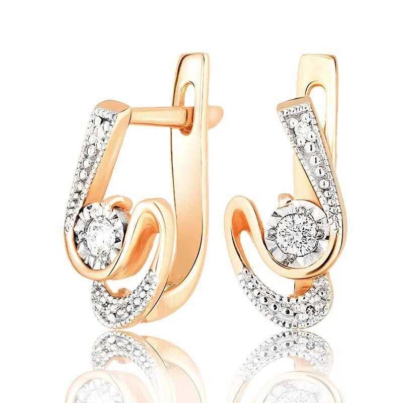 Ювелирный салон Jeweller Karat Серьги золотые с бриллиантами арт. 3224723/9 - фото 1